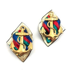 Jewelry - Vintage Anchor Earrings Gold Multicolor Nautical